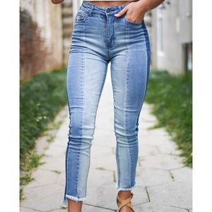 Black Label high waisted multi cut jeans